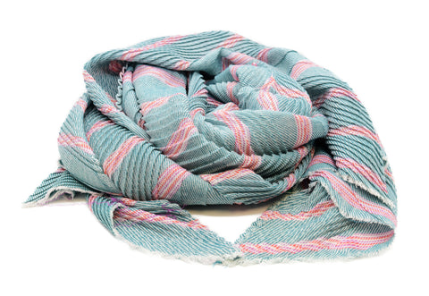 PM Teal Mix Striped Chevron Pleat Scarf