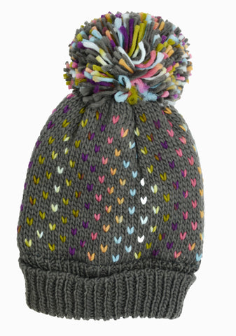 PM Grey Lined Knit Multicolour Pom Pom Winter Hat