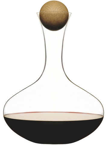 FH Sagaform Oval Wine Carafe with Oak Stopper & Steel Cleaning Beads