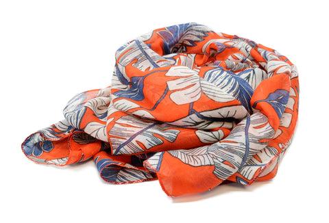 PM Orange Leaf Print Scarf