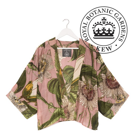One Hundred Stars & Kew RBG Passion Flower Kimono-Pink