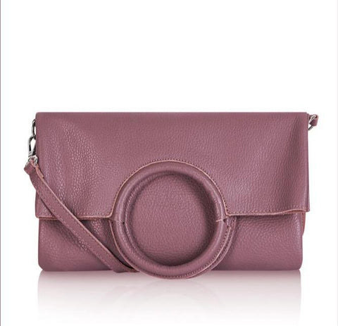 Italian Leather 4 Way Handbag & Pouch-Dusky Pink