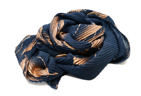PM Navy Chevron with Rose Gold Print Scarf