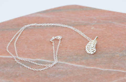 PM Sterling Silver Feather Necklace