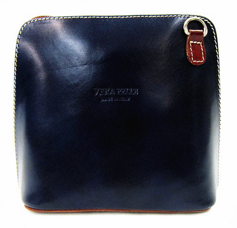 Vera Pelle Crossbody Bag-Light Chocolate/Navy