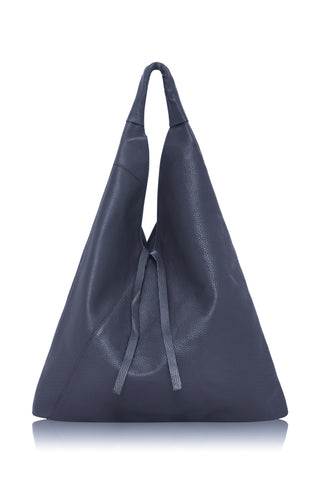 Italian Leather Slouch Handbag-Navy