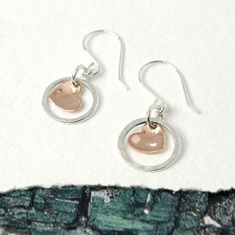 PM Rose Gold Heart in Sterling Silver Circle Earrings