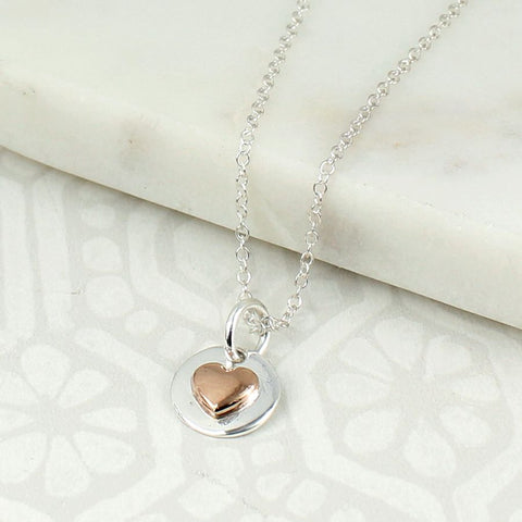 PM Sterling Silver Disc & Rose Heart Necklace
