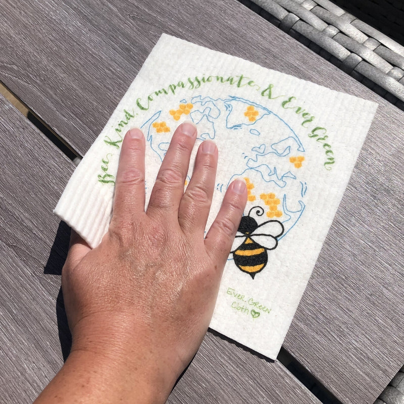 Bee Kind, Compassionate & Ever Green Sponge Cloth - (Pack of 3 cloths)