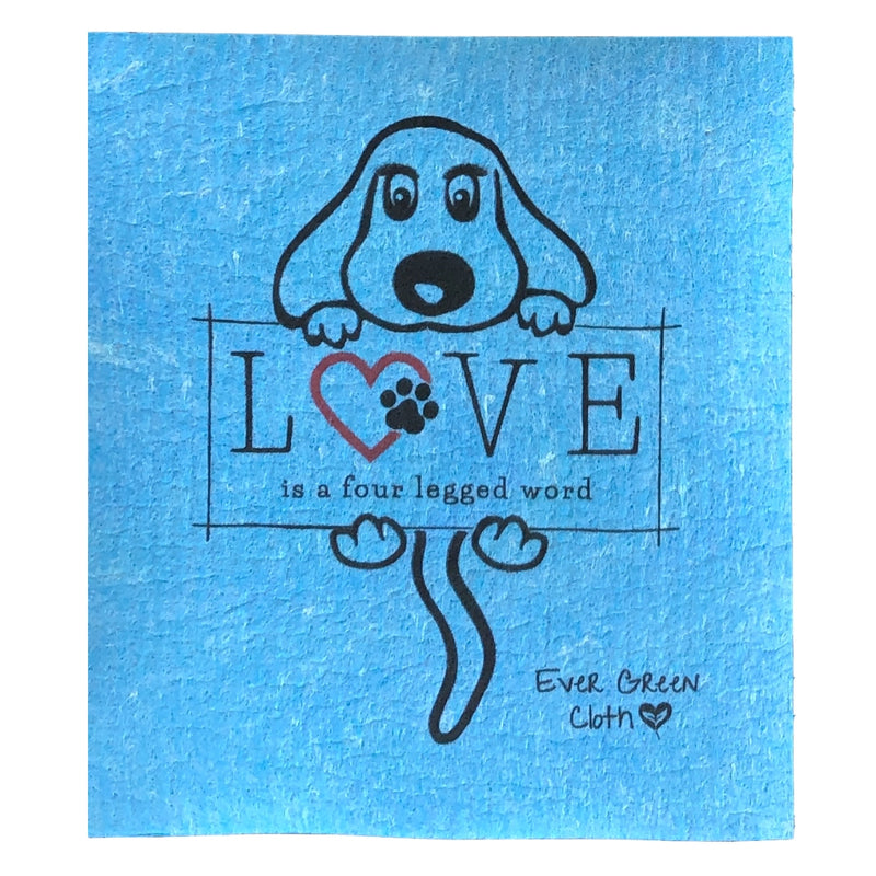 Swedish Dishcloth - Puppy Love Ever Green Sponge Cloth