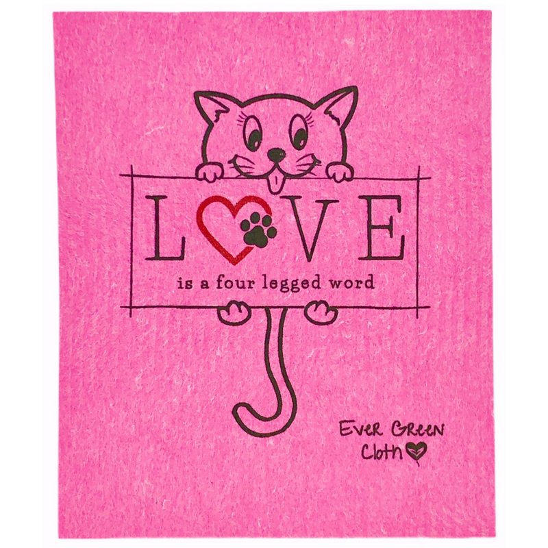 Swedish Dishcloth - Kitty Love Ever Green Sponge Cloth