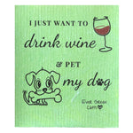 Swedish Dishcloth - Dog Wine Ever Green Sponge Cloth