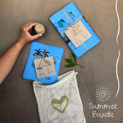 California Surf Bundle - Ever Green Sponge Cloth - Beech Wood Scrub Brush - 100% Natural Cotton Mesh Bag