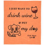 Swedish Dishcloth - Dog Wine Love Ever Green Sponge Cloth
