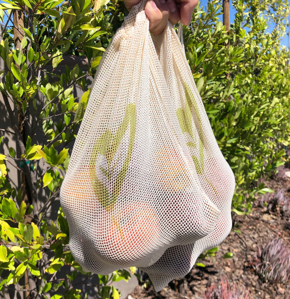 100% Natural Cotton Mesh Bag - Ever Green Cloth - In Use