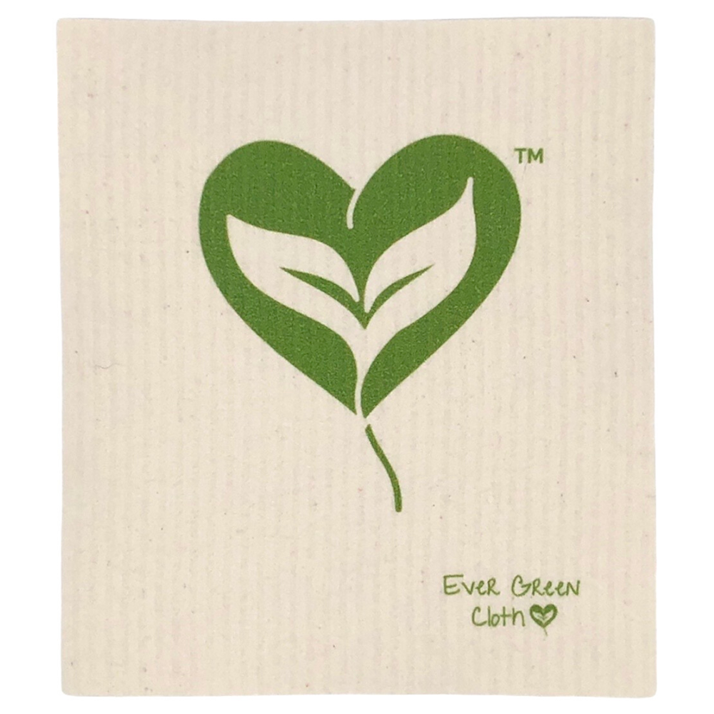 Swedish Dishcloth -  Heart Leaf Ever Green Sponge Cloth