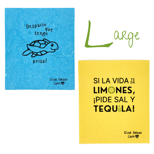 Frases en Español Bundle: 2 Regular + 2 Large Sponge Cloths, 2 Regular + 2 Large Cotton Mesh Bags, 2 Beech Wood Scrub Brushes