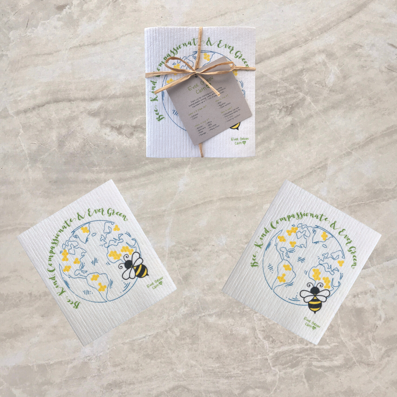 Swedish Dishcloth - Bee Design - Bee Kind Compassionate & Ever Green