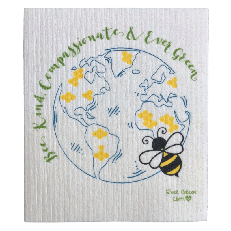 Swedish Dishcloth - Bee Kind Ever Green Sponge Cloth