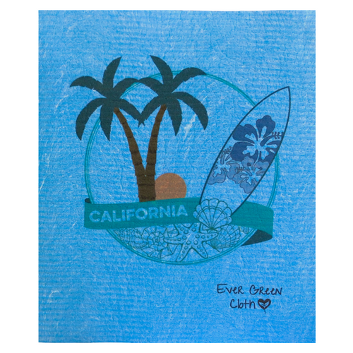 Large Swedish Dishcloth - California Surf  Ever Green Sponge Cloth
