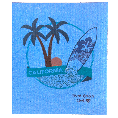 Swedish Dishcloth - California Surf  Ever Green Sponge Cloth