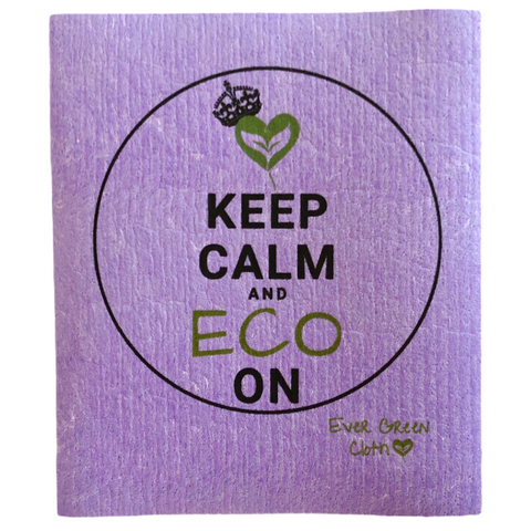 Swedish Dishcloth - Keep Calm and Eco On Ever Green Sponge Cloth