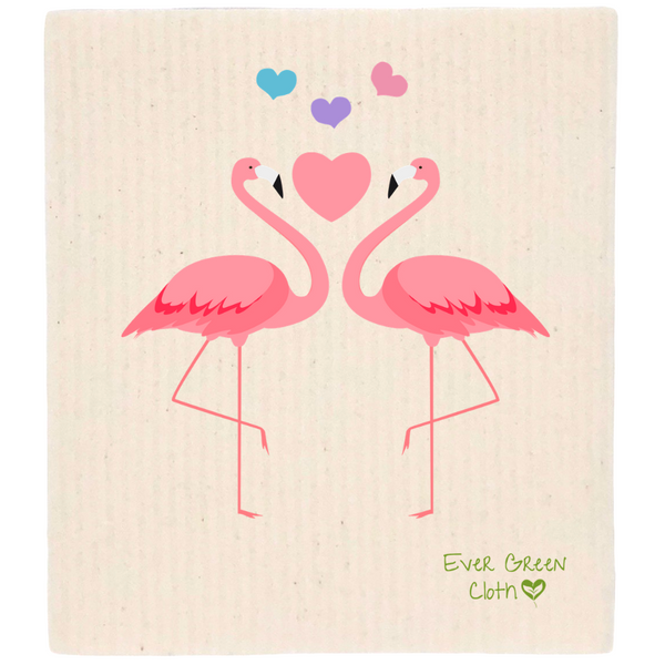 Swedish Dishcloth - LOVE Flamingos  Ever Green Sponge Cloth