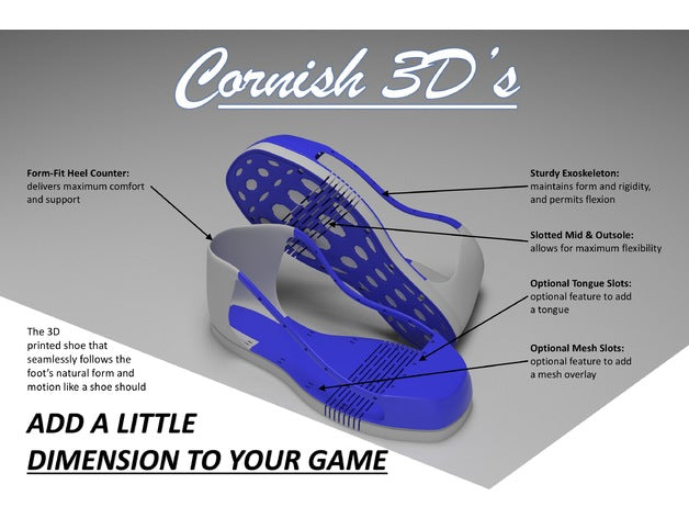 'Cornish 3D's' 3D Printable Footwear - Designed by CornishIII
