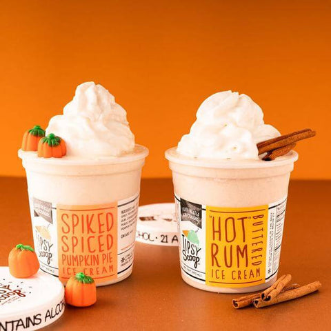 Pints of Spiked Spiced Pumpkin Pie Ice Cream and Hot Buttered Rum Ice Cream