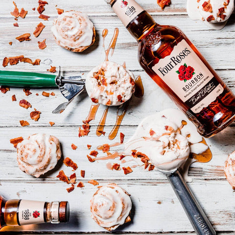 Scoops of Tipsy Scoop's Maple Bacon Bourbon ice cream and a bottle of Four Roses Bourbon.