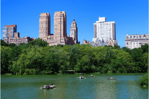 central park lake boat skyscrapers trees summer water reflection green blue sky hotels