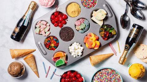 champagne toppings baking sheet sprinkles ice cream cones