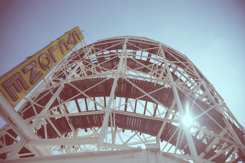 cyclone roller coaster sunshine summer white track old neon sign