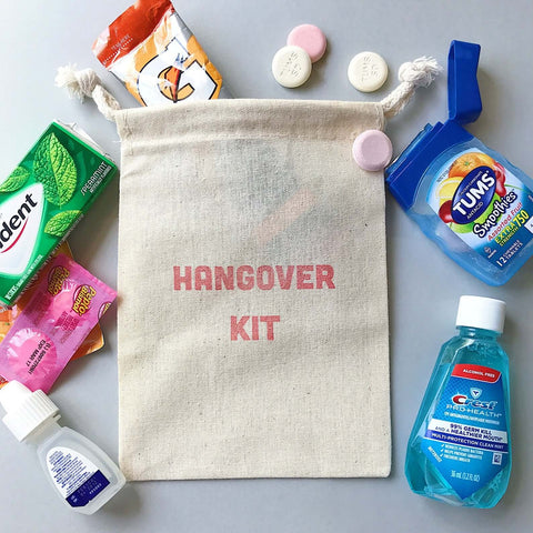 hangover kit sack with eyedrops, mouthwash, and TUMS spilling out