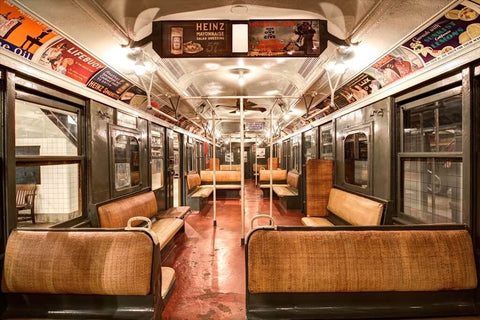 old subway car NYC museums heinz vintage advertisements brown seats