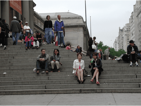 people congregating on stairs museum manhattan new york city couples dates trees glass
