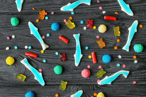 shark shaped gummies with other candies dispersed