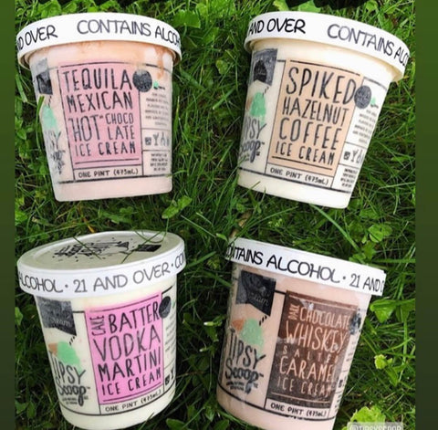 tipsy scoop ice cream four flavors lying in grass