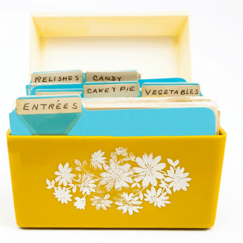 vintage yellow recipe box with blue dividers