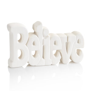 Believe word standing plaque