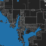 Cedar Creek Lake 32x48 Canvas Map Art (Black)