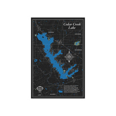 Cedar Creek Lake 22x34 Canvas Map Art (Black)