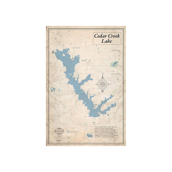 Cedar Creek Lake 22x34 Canvas Map Art (Sepia)