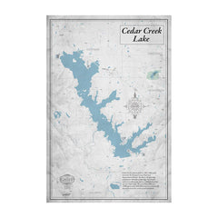 Cedar Creek Lake 32x48 Canvas Map Art (Gray)