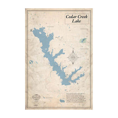Cedar Creek Lake 32x48 Canvas Map Art (Sepia)