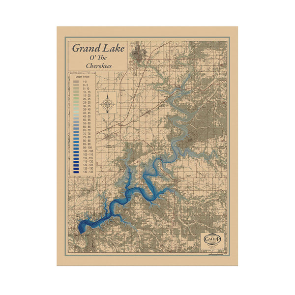 Grand Lake 29x39 Canvas Map Art (Sepia)