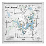 Lake Texoma 34x34 Canvas Map Art (Gray)