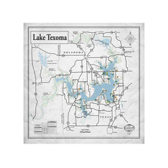 Lake Texoma 24x24 Canvas Map Art (Gray)