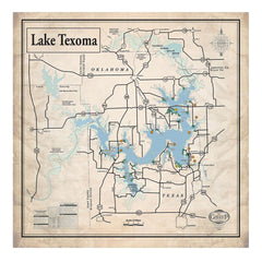 Lake Texoma 34x34 Canvas Map Art (Sepia)