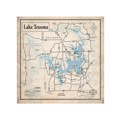 Lake Texoma 24x24 Canvas Map Art (Sepia)